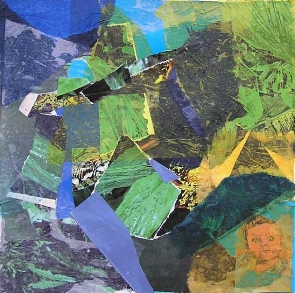 Estudio de armonía cromática en la técnica del collage. Clases de arte Barcelona