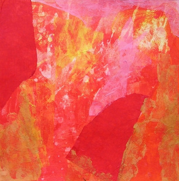 Estudio de armonía de colores cálidos en collage y pintura