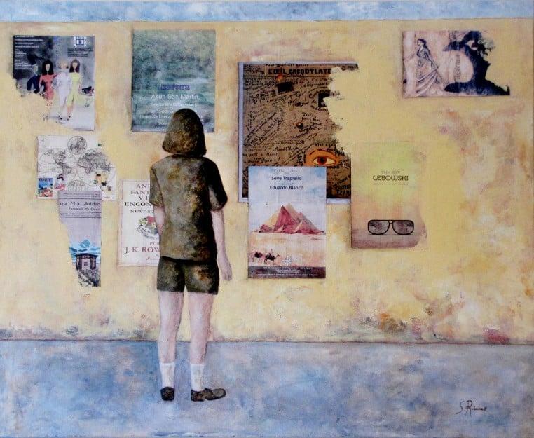 Trabajo figurativo de un alumno en acrílico y collage sobre tela. 4 Pintors Barcelona