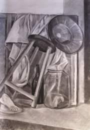 Composición del natural a carboncillo en clase de dibujo