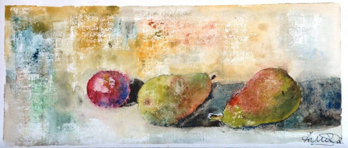 Frutas sobre una mesa, acuarela y papel. Bodegón del natural