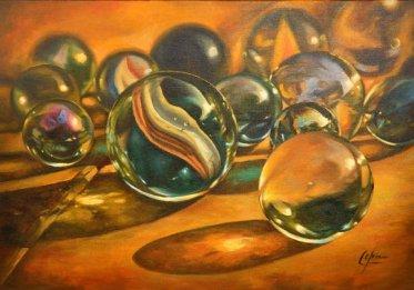 Canicas. Obra en óleo de C. Checa. Taller de 4 Pintores BCN