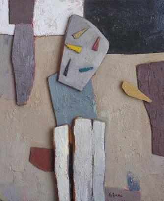 Oli sobre collage-relleu de fusta, Taller 4 Pintors