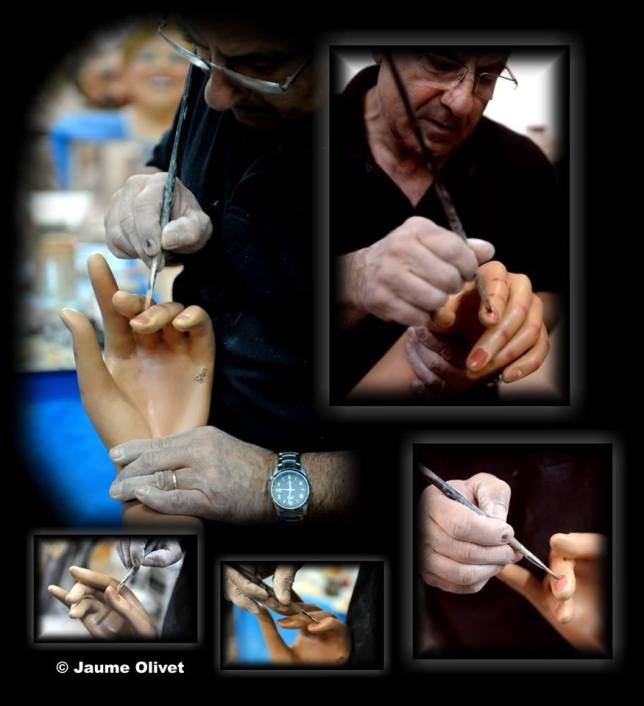 Jordi Grau pintant els Gegants d'Alella