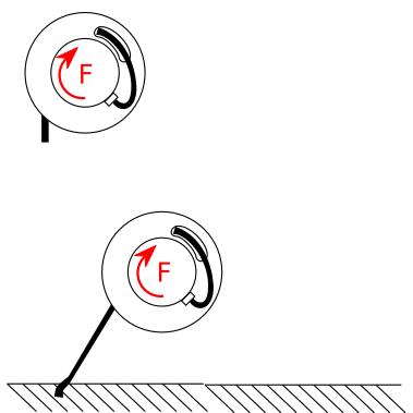 enrollador con cable recogido