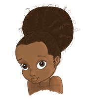 little black girl with afro puffs