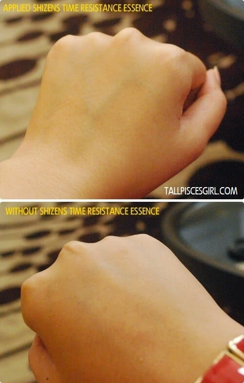 Test on my hand - difference between with and without Shizens Time Resistance Essence