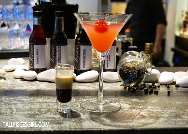 Soirée's B-52 shot and Cosmopolitan cocktail