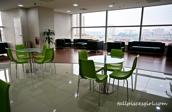 There are comfy chairs for you to talk business with an amazing view