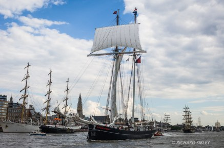 Dutch Topsail Schooner, Wylde Swan. Parade of Sail. Antwerp Tall Ships Race 2010