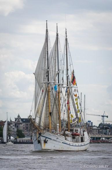 German Gaff Schooner, Grossherzogin Elisabeth. Parade of Sail. Antwerp Tall Ships Race 2010