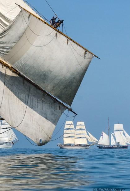 Background vessels are Mexican Barque Cuauhtemoc, Swedish Brig Trekronor and the Dutch Schooner Wylde Swan