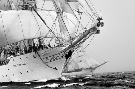 Christian Radich and Europa contest a North Atlantic race start