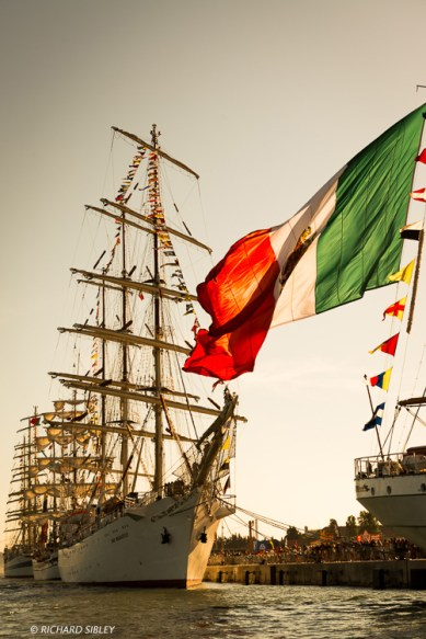 Ships from left to right, MIR, Simon Bolivar, Dar Mlodziezy and Cuauhtemoc