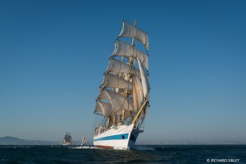 Russian full rigger MIR. Background vessels, Amerigo Vespucci and Santa Maria Manuela