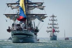 Venezuelan barque, Simon Bolivar and Mexican barque Cuauhtemoc