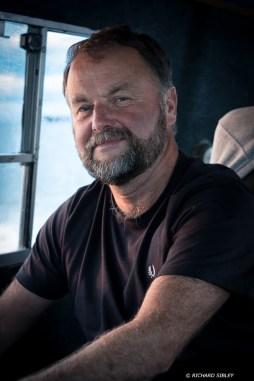 Tony Avis, skipper of the chase boat, Mistress
