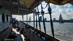 View from the Dutch schooner Gulden Leeuw. Parade of Sail, Royal Greenwich 2014