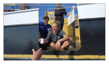 """No wind so time for a cup of coffee from """"probably"""" the best coffee shop in the world. Onboard the Dutch clipper brig Morgenster"""