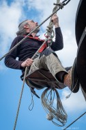 Descending the main mast stay in a bosuns chair