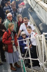 Captain Barbara explaining the procedure for negotiating the gangway in a wheelchair