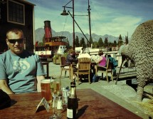 Queenstown lakefront, important objects: Drinks, kiwi, Earnslaw, Remarkables and Mike