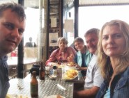 Squished in for lunch at the Shelly Beach cafe