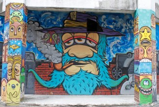 Centrepiece of a mural by Pirates street art collective (led by Yelz and Ghstie) / Lukes Lane / commissioned to celebrate the Luke family / 2012