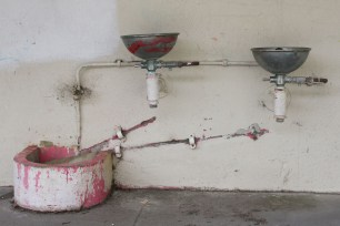 Derelict childrens' water fountains