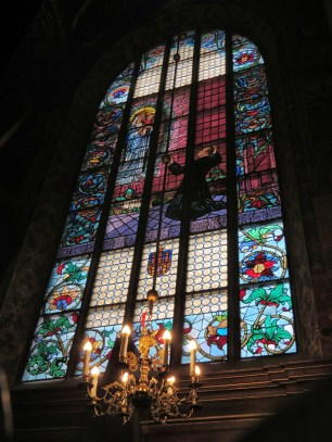 Stained glass window, St Mary's Basilica