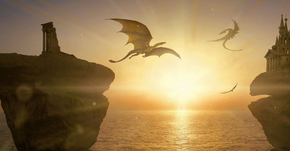 fantasy dragons flying