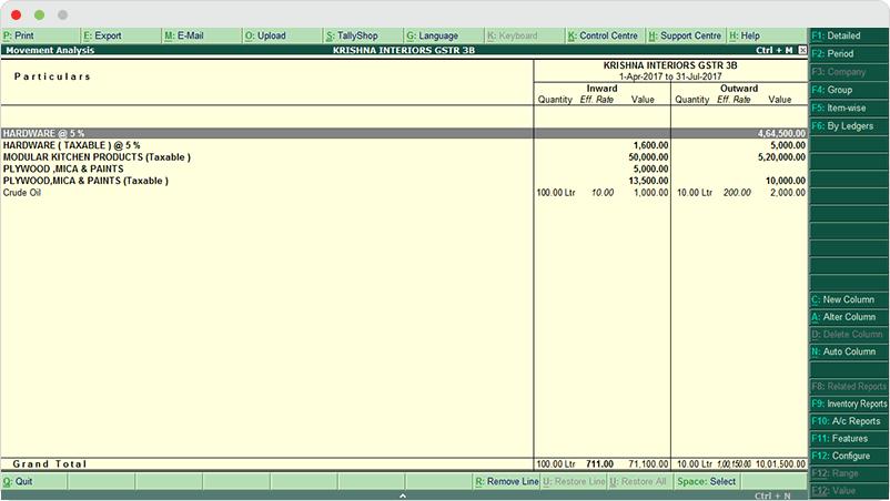 Tally ERP Reports - Stock Item Movement Analysis