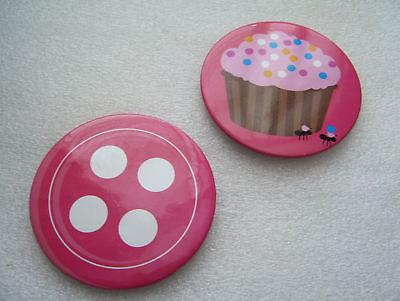 Vintage huge pink budges - button and cake