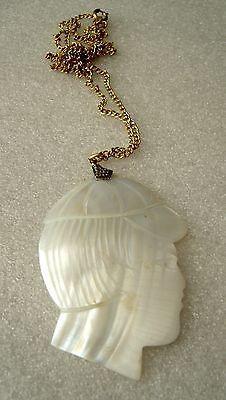 Vintage mother of pearl huge detailed boy face pendant necklace