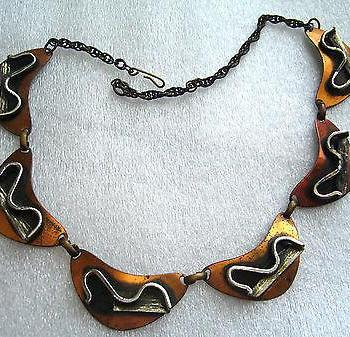 Vintage copper mid-century necklace