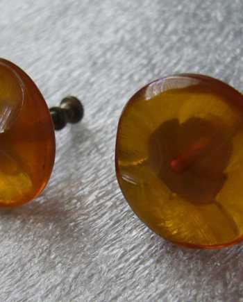 Vintage amber early plastic screw earrings