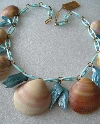 Vintage celluloid  & real shells light blue necklace
