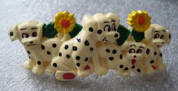 Vintage Disney 101 Dalmatians plastic hair barrette clip