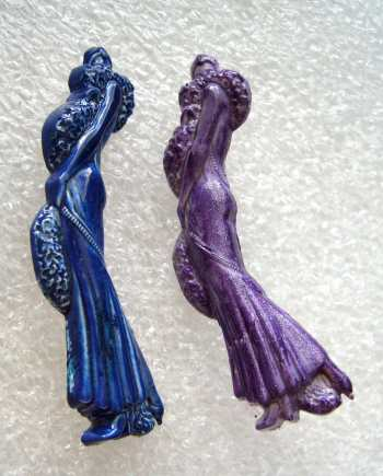 Vintage lady early plastic pin brooch