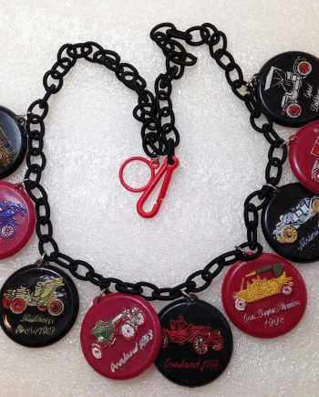 Vintage style charms necklace, made with vintage 1967 early plastic Israeli cars' charms