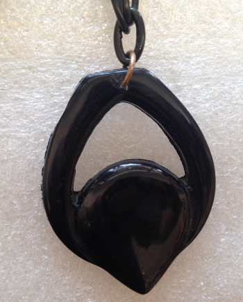 Vintage celluloid & galalith galalite black pendant necklace