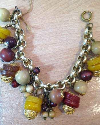 Vintage early plastic amber-like dangles bracelet