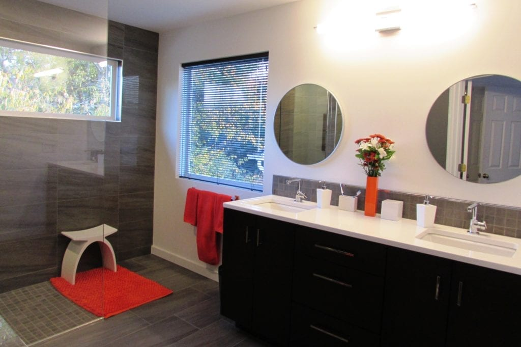 Modern bathroom remodel in Frederick  Talon Construction