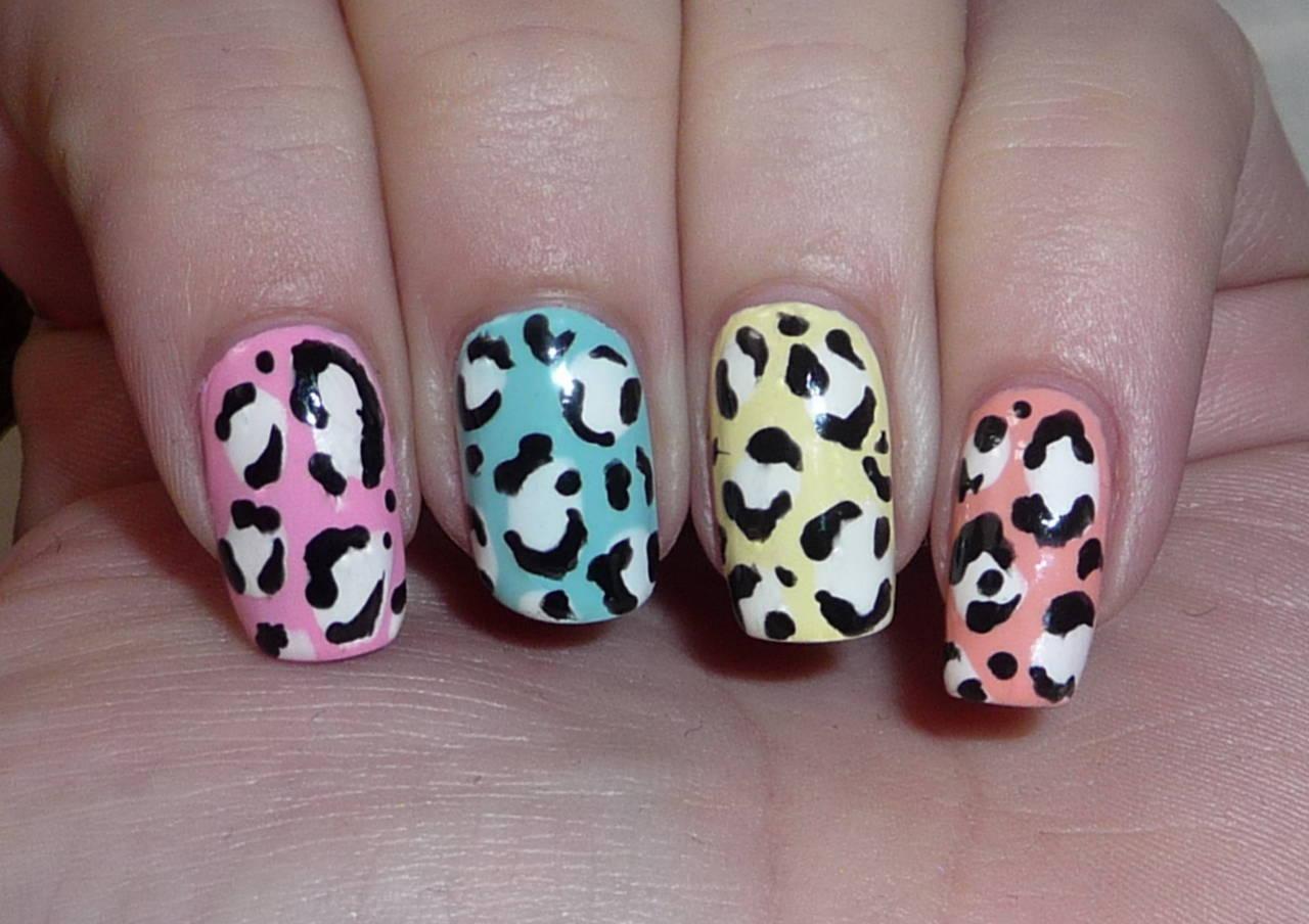 Spring Leopard Print Nail Art