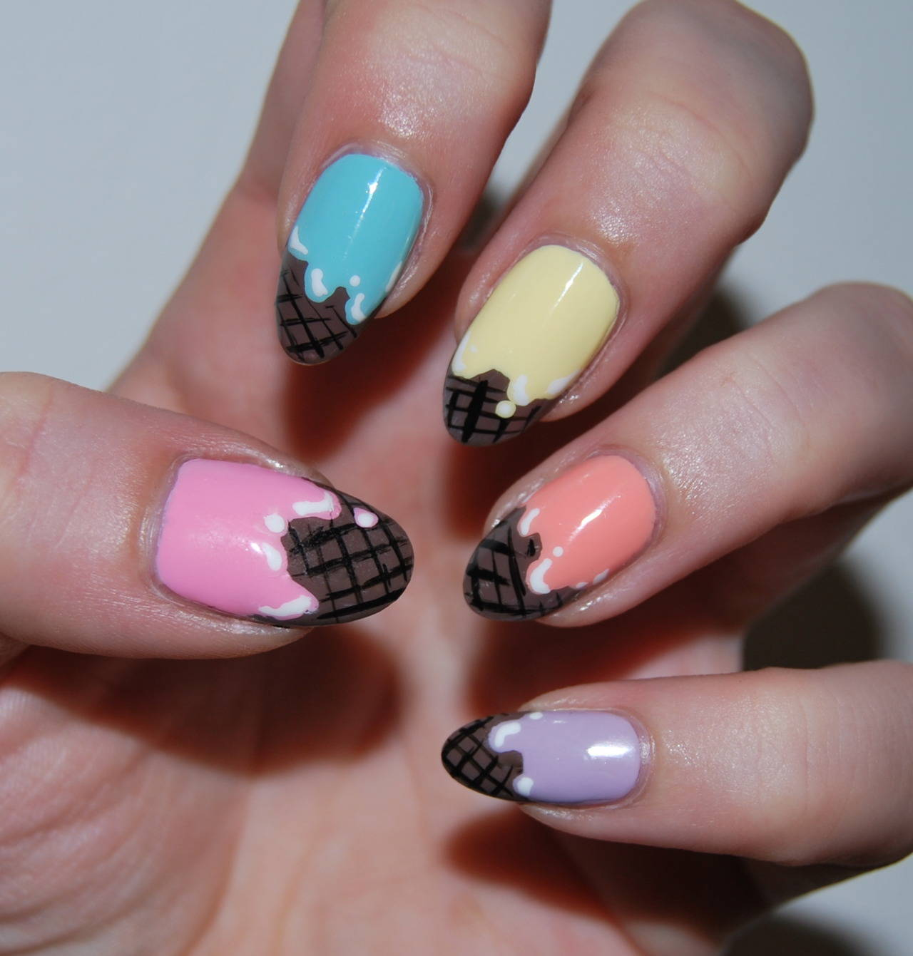 Ice Cream Nail Art Manicure