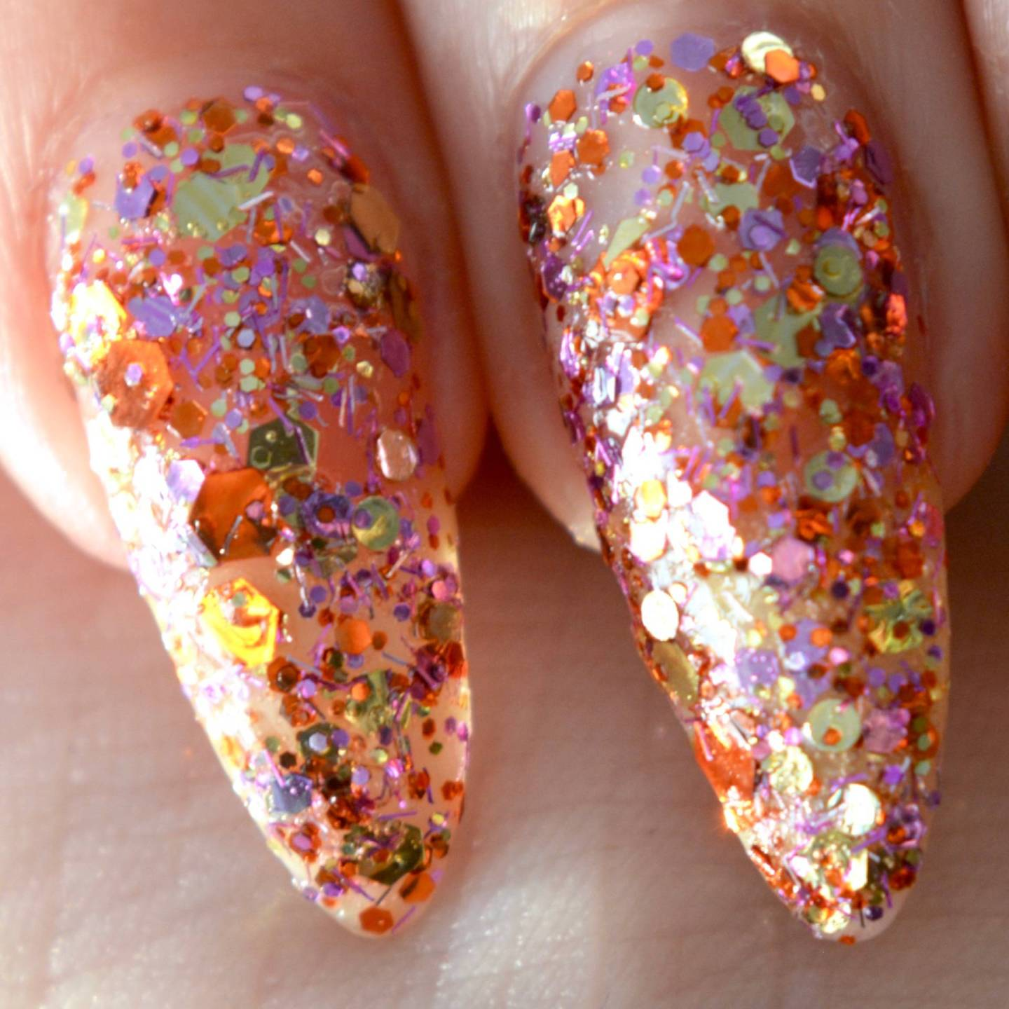 Little Ondine, peel off glitter nail varnish? It's the future! This is 'Rumba', so pretty!