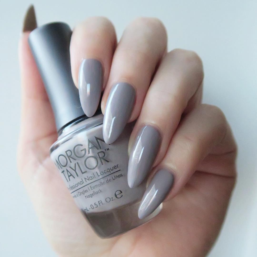 Morgan Taylor 'Rule The Runway' - grey almond shaped nails.