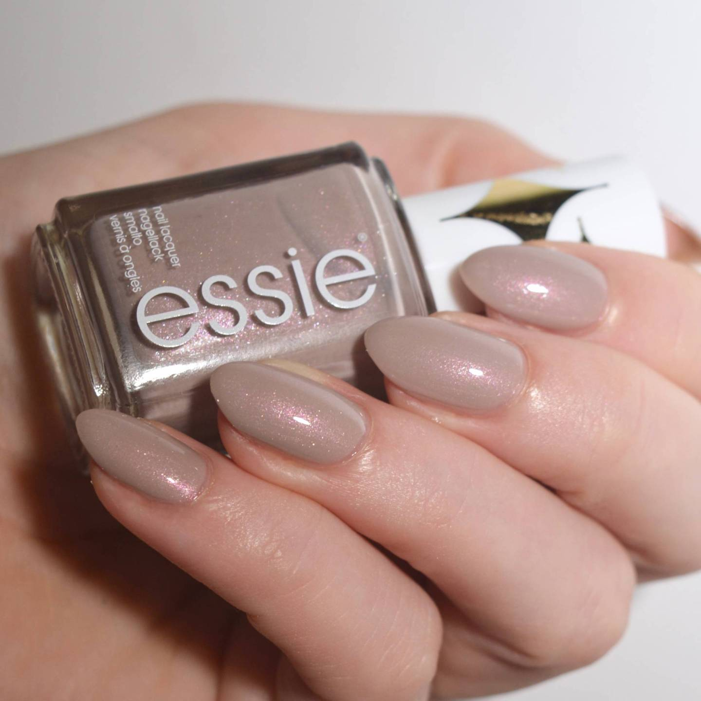 Essie 'Sweet Tart' from the Retro Revival 2017 collection. The perfect grey polish with subtle pink shimmer.