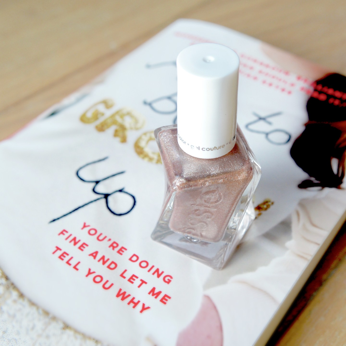 Friday Faves: Daisy Buchanan's book 'How To Be A Grown Up' (buy it immediately!) and essie 'To Have And To Gold', the perfect rose gold polish.