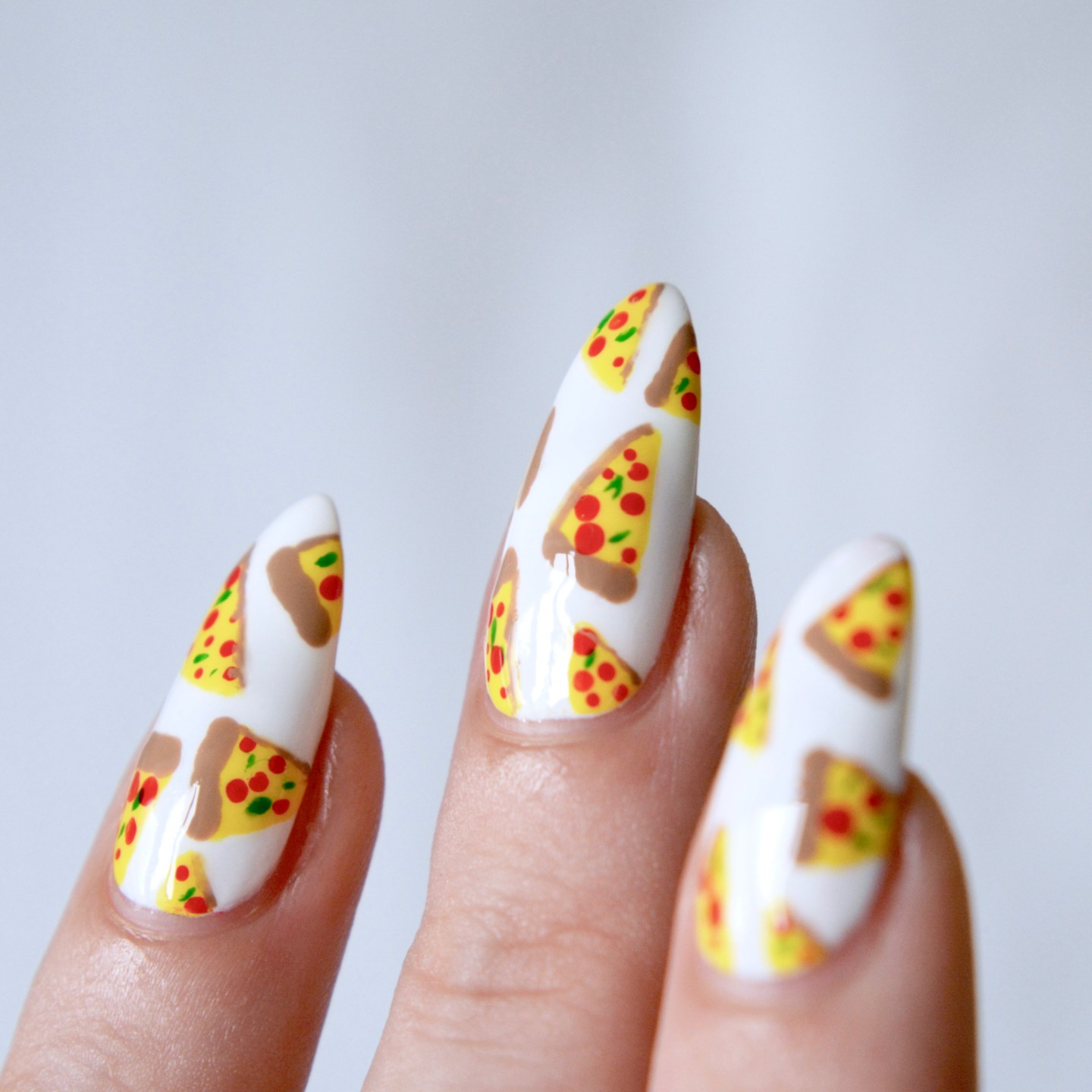 Pizza nail art by Talonted Lex
